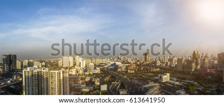 Panorama view of Bangkok Cityscape #613641950