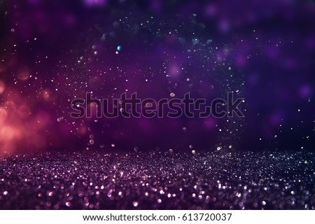 glitter vintage lights background. gold, purple and black. de-focused. #613720037
