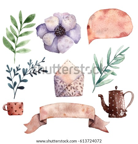 Various Lovely Watercolor Elements 1