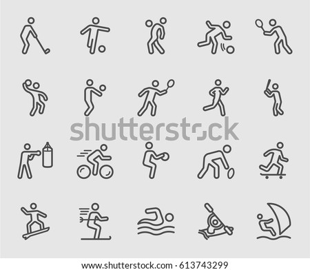 Sports action line icon Royalty-Free Stock Photo #613743299