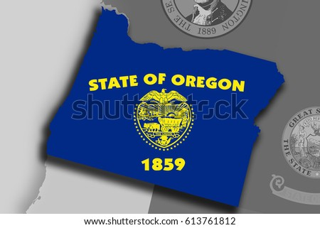 Illustration of the State of Oregon silhouette map and flag. Its a JPG image. #613761812