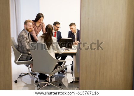 Group of buseness people who are seriously working on a new project in the office #613767116