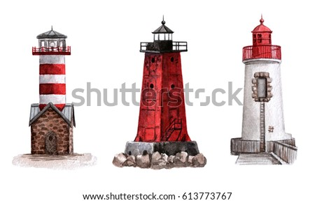 Watercolor lighthouses for your design. Hand painted illustration