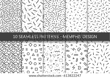 Collection of swatches memphis patterns - seamless. Fashion 80-90s. Black and white mosaic textures.