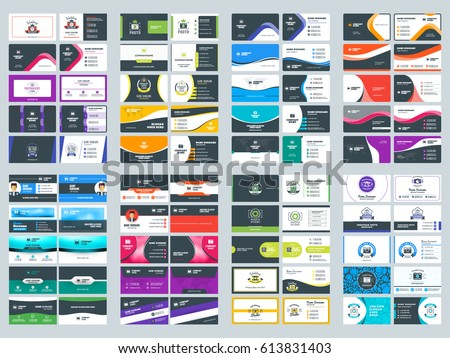 Collection of double sided business card vector templates. Stationery design vector set #613831403