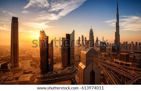 Dubai at sunrise Royalty-Free Stock Photo #613974011