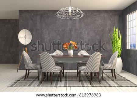 Interior dining area. 3d illustration #613976963
