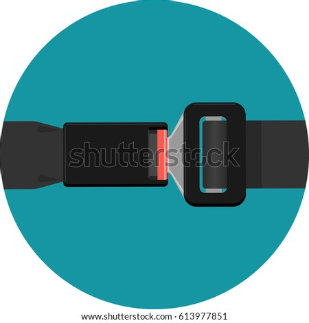 Safety black belt isolated on background. Security seat protective belt with buckle vector illustration. Modern prevention accident accessory seatbelt. Fashionable waistband in realistic design #613977851