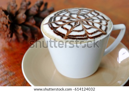 Delicious chocolate cappuccino in white cup #614124032