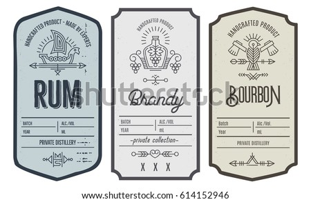Set of vintage bottle label design with ethnic elements in thin line style. Alcohol industry emblem, distilling business. Monochrome, black on white. Place for text #614152946