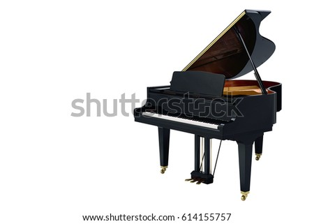 classic musical instrument black piano isolated on white background Royalty-Free Stock Photo #614155757
