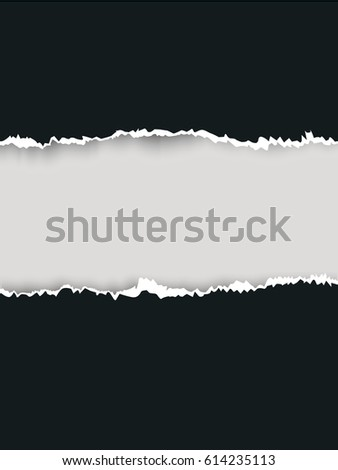 Black ripped paper and white background with space for text, vector art and illustration. #614235113