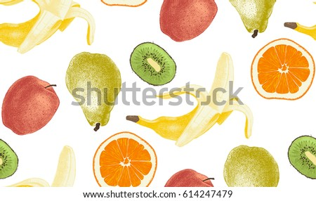 Seamless pattern with most popular colorful hand drawn fruits on dark background #614247479