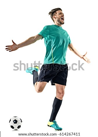 one caucasian soccer player man happy celebration isolated on white background Royalty-Free Stock Photo #614267411