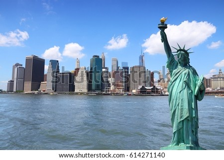 New York city skyline with Statue of Liberty. #614271140