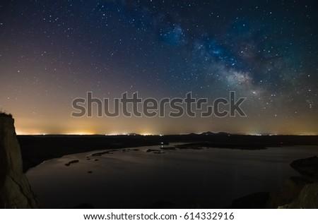 Night long exposure photography: Milky Way within Barrancas de Burujon natural monument, Toledo, Spain.