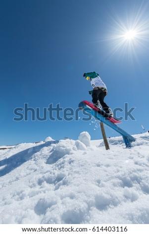 COVILHA, PORTUGAL - APRIL 2, 2017:  Rita Rainho during the National Snowboard  Championships at Serra da Estrela, Covilha, Portugal. #614403116