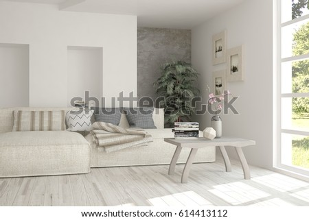 White room with sofa and green landscape in window. Scandinavian interior design. 3D illustration #614413112