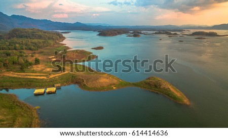 aerial photography at Pompee viewpoint it is on the way to Sangkhlaburi. Pompee is a part of Vajiralongkorn dam.when the sun go down to the lake it very beautiful.tourists come here for watch sunset. #614414636