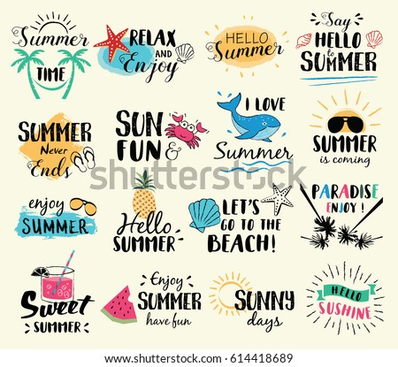 Summer labels, logos, hand drawn tags and elements set for summer holiday, travel, beach vacation, sun. Vector illustration. Royalty-Free Stock Photo #614418689