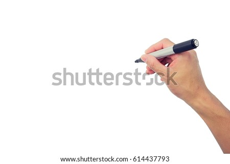 Hand writing isolated on white background. #614437793