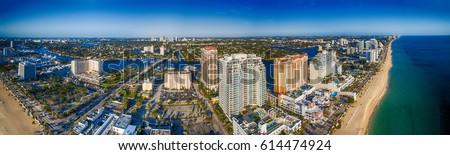 Fort Lauderdale coastline , aerial view of Florida. #614474924