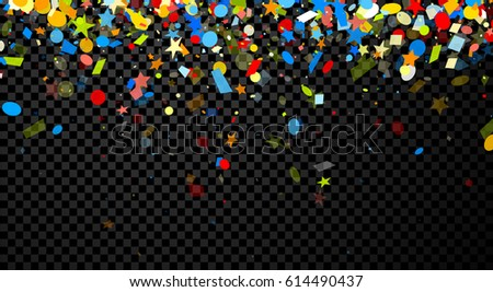Festive checkered background with colorful figured confetti. Vector illustration. #614490437