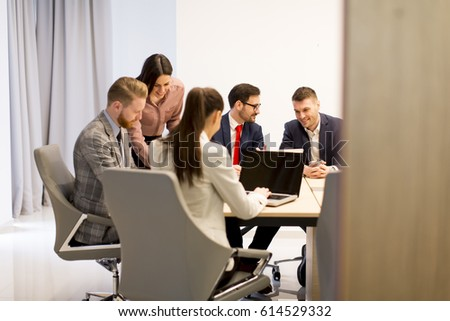 Group of buseness people who are seriously working on a new project in the office #614529332