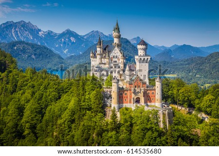 Beautiful view of world-famous Neuschwanstein Castle, the nineteenth-century Romanesque Revival palace built for King Ludwig II on a rugged cliff near Fussen, southwest Bavaria, Germany #614535680