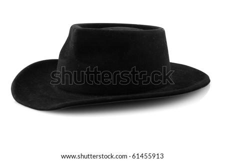 Western cowboy black felt hat isolated on white background. #61455913