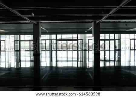 Light shines through the window. Silhouette window frame. #614560598