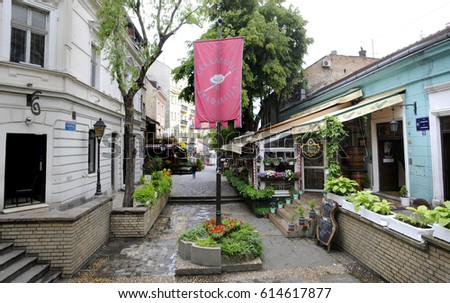BELGRADE, SERBIA - CIRCA MARCH 2017 - Skadarlija is the bohemian quarter with lot of restaurants and art galleries, circa March 2017 in Belgrade #614617877