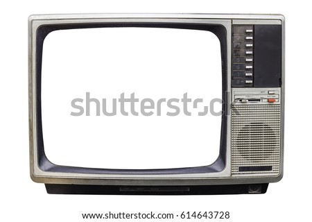 Classic Vintage Retro Style old  television with cut out screen,.old  television on  isolated background. Royalty-Free Stock Photo #614643728