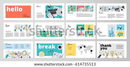 Business presentation templates. Flat design vector infographic elements for presentation slides, annual report, business marketing, brochure, flyers, web design and banner, company presentation.