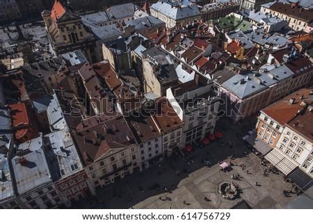 Lviv old city panorama. Ukraine, Europe. Panorama of the city of Lviv. Roofs of Lviv, Ukraine. #614756729
