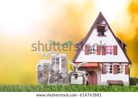Mortgage loading and calculator property document concept. #614763881