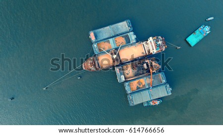 top view of container ship in vessel logistic  #614766656
