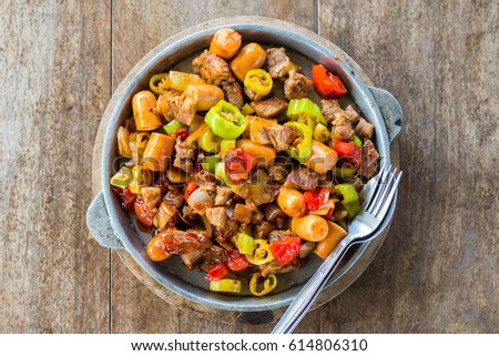 Top view Meat,barbeque In the dish  With spoon #614806310