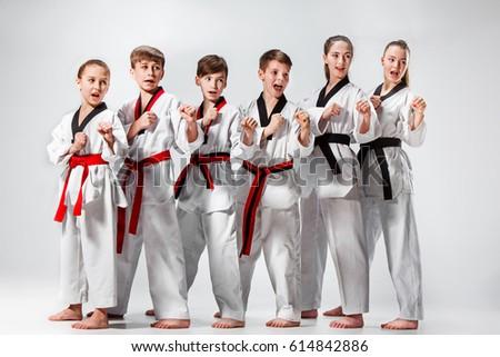 The studio shot of group of kids training karate martial arts #614842886