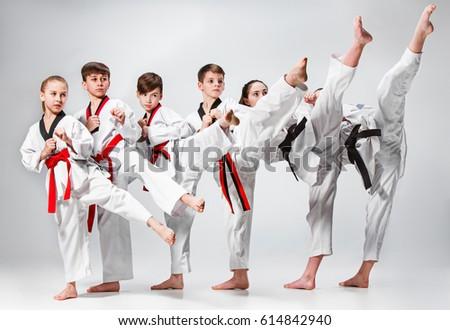 The studio shot of group of kids training karate martial arts #614842940