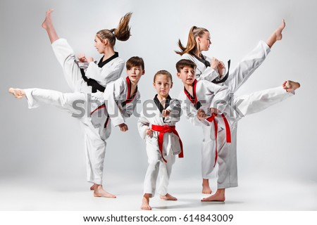 The studio shot of group of kids training karate martial arts Royalty-Free Stock Photo #614843009
