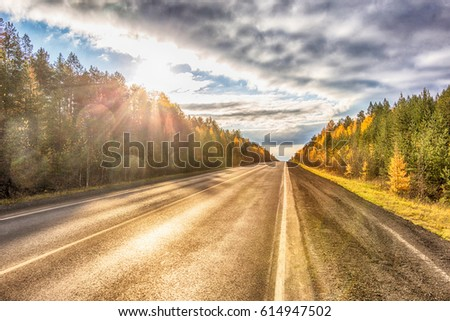 Beautiful autumn sunny road from Yekaterinburg to Nizhny Tagil (to Verkhoturye). This is one of the 10 best roads in Russia. Sverdlovsk region, Russia #614947502