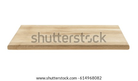Wooden cutting board isolated on white background #614968082
