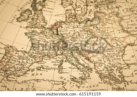 Antique old map Europe Royalty-Free Stock Photo #615191159