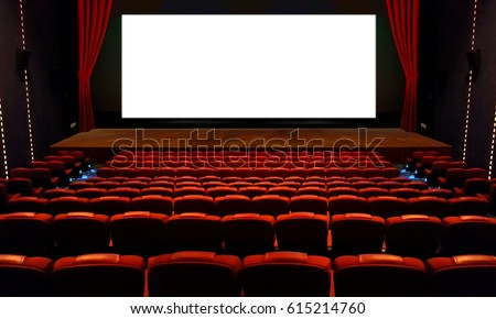 Theater hall with red seat and wide blank white screen #615214760