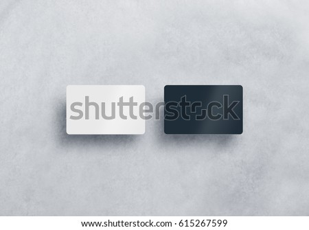 Two blank plastic business cards mockups set isolated on grey textured background. Black and white namecard design mock up presentation. Empty horizontal visiting sheets template with shadows.