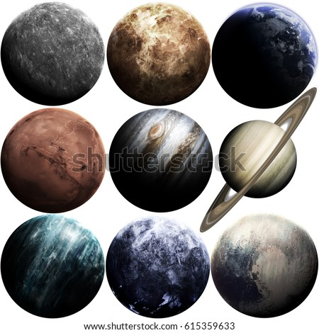 Awesome quality planets of solar system isolated on white. Elements of this image furnished by NASA Royalty-Free Stock Photo #615359633