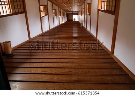 Japanese corridor in  castle #615371354