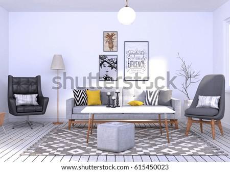 3D Rendering of a Scandinavian Interior Scene #615450023