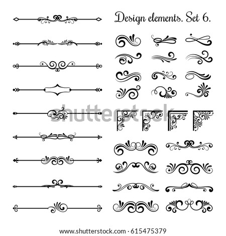 Ornamental borders and flourish corners, royal ornament swirls and vector vintage page dividers. Classical decoration elements illustration Royalty-Free Stock Photo #615475379